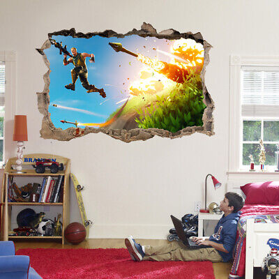 Fortnite Missiles Video Game 3D Hole In Wall Wall Sticker Decal DIY Mural
