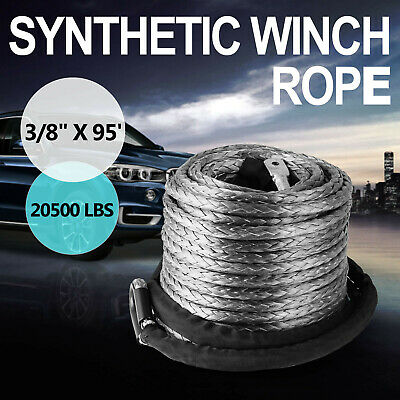 100ft 9.5mm Synthetic Winch Rope With 20500lbs Hawse For ATV SUV Winch Cable
