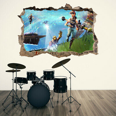 Fortnite Video Game 3D Hole In Wall Wall Sticker Decal DIY Mural Action Graphic