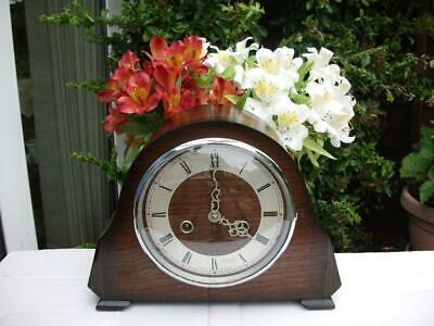 Smiths Rarely Seen Oak Case 8 Day Striking Mantel Clock. 1951. Fully Overhauled.