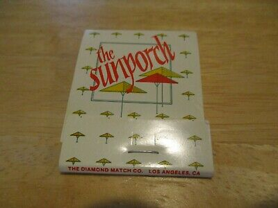 Vintage Matchbook Cover The Sunporch Los Angeles California Ca No Reserve