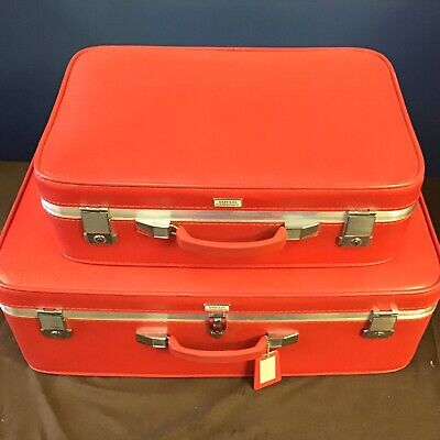 """AMELIA EARHART RED SUITCASE set of 2 1965 Mid Century Vtg Luggage 27"""" & 21"""" +tag"""