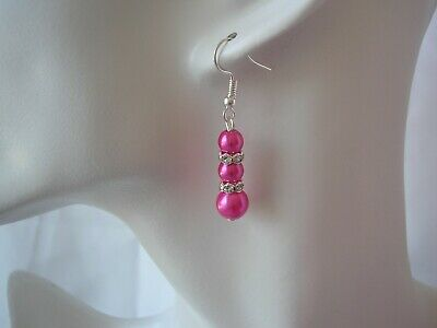 2dr Pearl & Crystal Diamante Long Drop Earrings for Women Girls Bridesmaids Gift