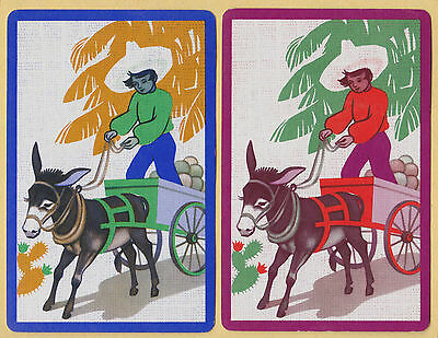 DECO   DELUXE  566 Playing Swap Cards 1 VINT  CLOWN RIDING HIS DONKEY CLEVER!