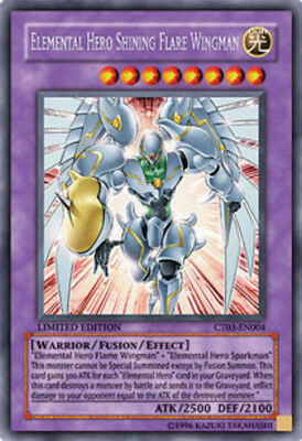 YuGiOh Elemental Hero Shining Flare Wingman - CT03-EN004 Secret Rare Limited MP