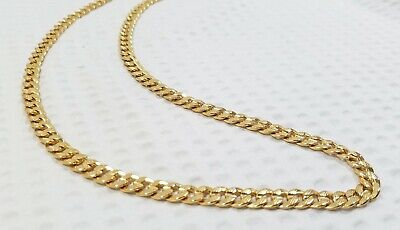 "18K Yellow Gold-plated 7mm  24"" Flat Curb Chain Unisex Necklace"
