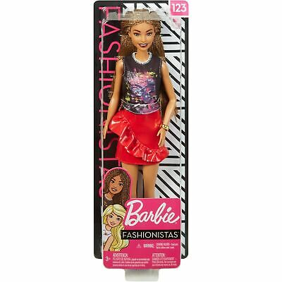 NEW BARBIE 2019 Fashionistas Doll # 123  AA microbraided HAIR. In Stock