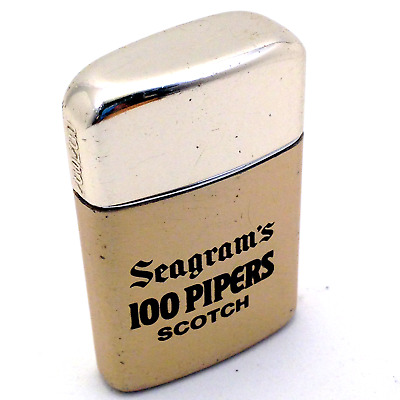"""vintage RONSON Typhoon Advertising Lighter """"Seagram's 100 Pipers Scotch"""" Gold"""