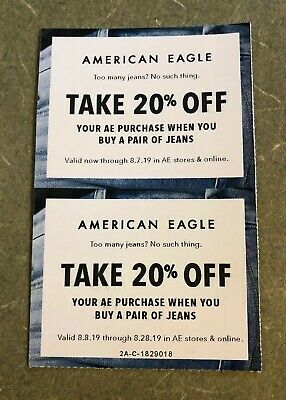 American Eagle Coupons-2-Take 20% off Purchase When You Buy A Pair Of Jeans