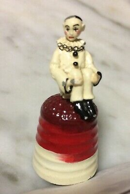 """Vintage - Hand Painted  Sitting Clown Pewter - Thimble 1.5"""" England"""