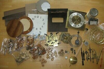 LOT OF CLOCK PARTS, FACES, for BUILDING or REPAIR; WOOD LIMB NUMBERS; ARMS, MORE