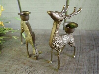 Vintage Pair Solid Brass Deer Candle Holders ~ Stag and Doe