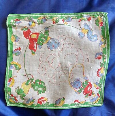 Vintage Unsigned Cotton Childs Hanky - Bear, Dog And Squirrel Jumping Rope