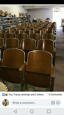10 Rows Of 6 (60 Total) Vtg.Wood And Cast Iron Theater Chairs/seats/movie props