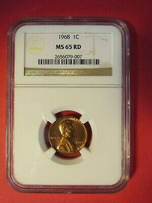 """1968  Lincoln Memorial Cent  """"Ngc Ms65Rd"""""""