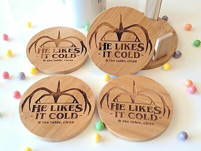 Stranger Things He likes it Cold Inspired, Custom Engraved Bamboo Coaster Set Wi