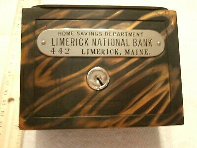 Vintage W F Burns Co Coin Bank Limerick National Bk Limerick Maine Circa 1900'S