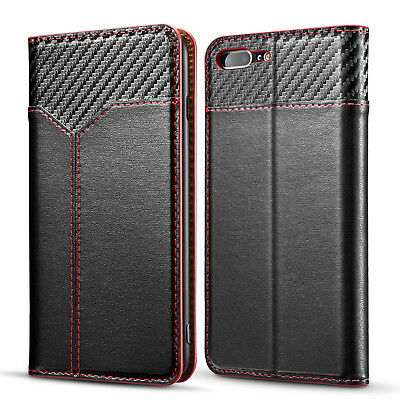 Carbon Contrast Leather Magnetic Flip Stand CoveCase For Apple iPhone 7 8 plus x