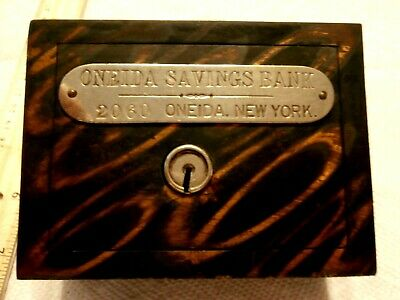Vintage W F Burns Co Coin Bank Oneida Savings Bk 2060 Oneida New York Circa 1900