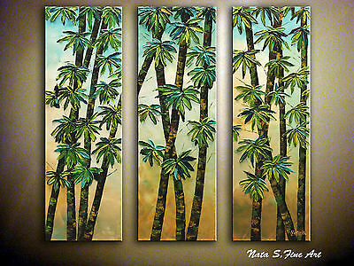 "Bamboo Triptych Painting 30""x 30"" Abstract.Palette Knife.Ready to Ship by Nata S"