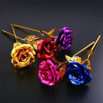 24k Gold Plated Golden Rose Flowers Anniversary Mother's Day Girlfriend GiQP