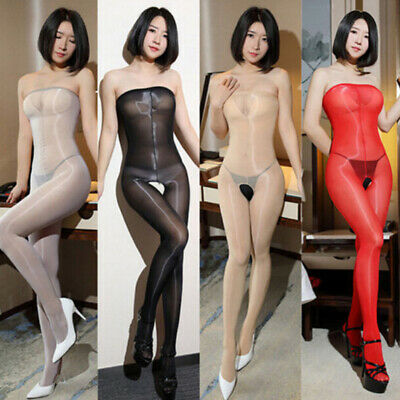Women 8D Oil Shiny Glossy Pantyhose Body Stockings Tights Crotchless Bodysuit QP