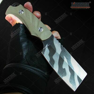 "8"" Tiger Strip Tactical Combat Mini Cleaver Fixed Blade Knife w/ G10 Handle"