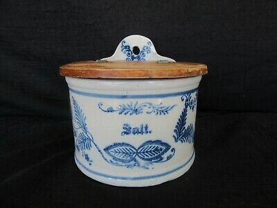 Antique Stoneware Blue Paint Wall Salt Cellar Box / Crock w/ Wood Lid