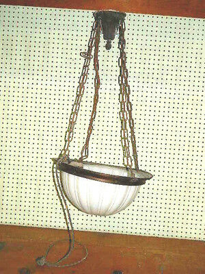 Vtg 1930 30'S Art Deco Large Milk Glass Chandelier Hanging Ceiling Light Fixture