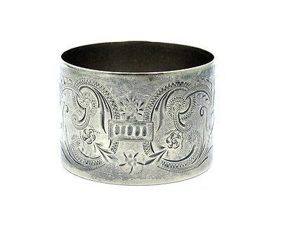 "Antique etched Filigree WENDELL Sterling Silver NAPKIN RING Holder #210 ""EMS"""