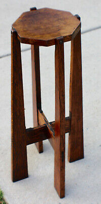Antique Mission Oak Hexagon Plant Stand Roycroft Stickley Era c.1915