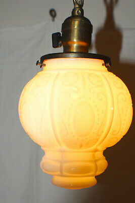 Antique Victorian Milk Glass and Brass Hanging Light Fixture c. 1900 Rewired