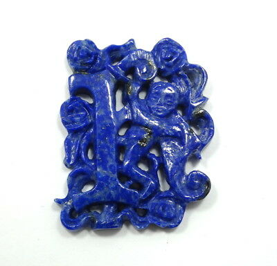 "Antique Vintage Old Chinese LAPIS LAZULI Carved CHERUB Letter ""I"" Pendant"