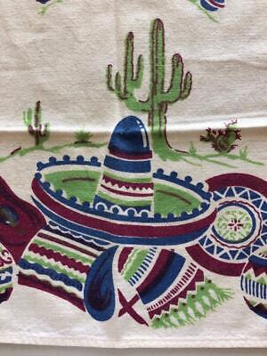 "vintage Kitchen Towel Hand 26 x 17"" Mexican theme design PRINTED on cotton"