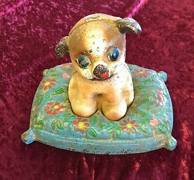Hubley Cast Iron Antique Puppy On Pillow Door Stop Early 1900's Rare Vintage Dog