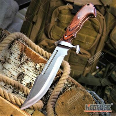 "13.5"" Full Tang Outdoor Hunting Fishing Camping Fixed Blade Knife Wood Handle"