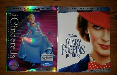 Disney's Cinderella Anniversary Edition & Mary  Poppins Returns Blu Ray Dvd Lot
