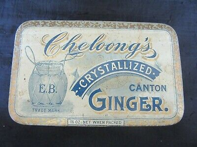 Antique Cheloong's Crystallized Ginger Tin, 16 OZ., Nice Condition