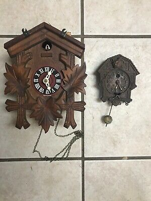 Vtg GERMAN Cuckoo CLOCK  & Keebler clock for Parts Repurpose as is non wkg