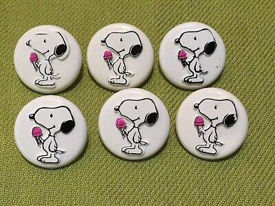 6 Collectable set Peanuts buttons woodstock ice cream plastic JHB Collection