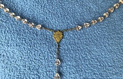ANTIQUE Pink Cut Rock Crystal & Brass Rosary CATHOLIC CHRISTIAN French France