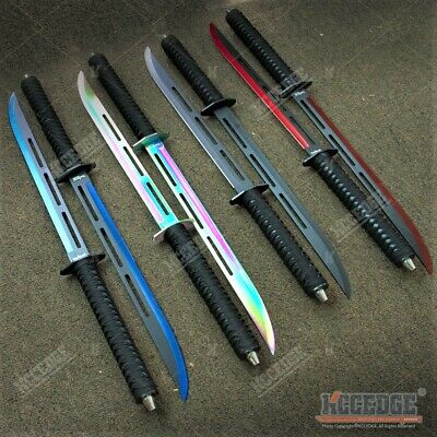 "24"" DUAL NINJA SWORD SET RAZOR SHARP BLADE Machete Full Tang Tactical Katana"