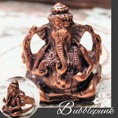 Vintage Finely Detailed Copper Indian Hindu Ganesha Diety Figural Ring sz 6.5