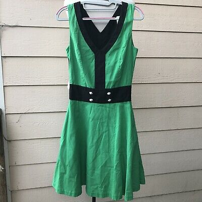 Peppy Set Go Spearmint Green /& Black Retro A-line Dress Sz L Read Buttons