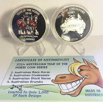 """2014 Year Of The Horse """"Aust Clydesdale"""" 1 Oz Coin C.O.A. LTD 1,000 (No Tin)"""