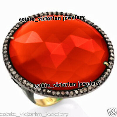 Victorian Inspired 1.81Ct Rose Cut Diamond Red Onyx Silver Cocktail Ring Jewelry