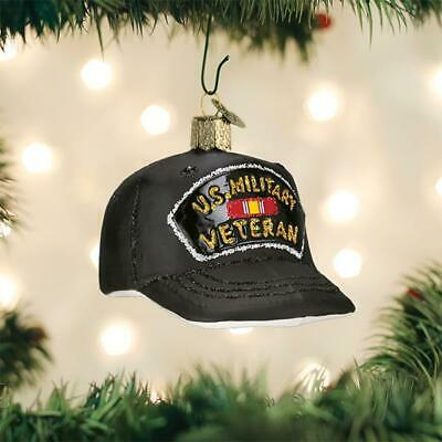 Old World Christmas Veteran's Cap Hat Glass Christmas Ornament 32375