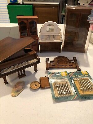 """Vintage Lot 1:12""""  Scale Dollhouse Furniture Accessories Wooden Lot"""