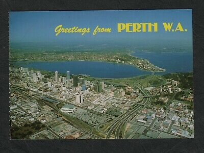 s644) 1970's AERIAL VIEW POSTCARD OF PERTH & THE SWAN RIVER IN WESTERN AUSTRALIA