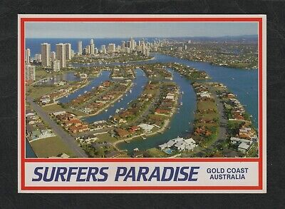 s843) 1970's AERIAL VIEW PC PARADISE WATERS, SURFERS PARADISE QUEENSLAND